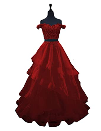 f8f8fb02ed Momabridal Womens Long Tulle 2 Piece Off Shoulder Prom Dresses Applique  Layered Homecoming Party Ball Gowns at Amazon Women s Clothing store