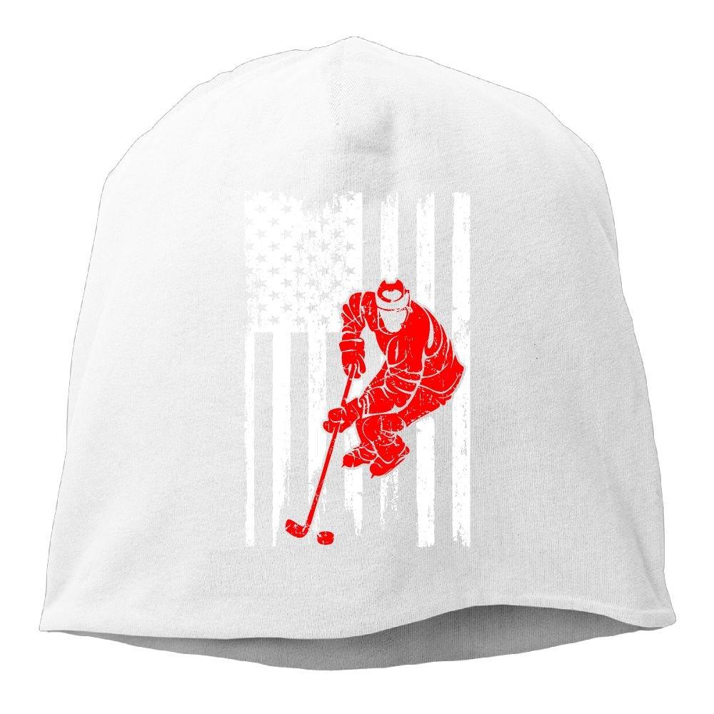 Men Women Hockey Player Sports USA Flag Skull Hat Beanie Cap Winter Knit Hat Cap