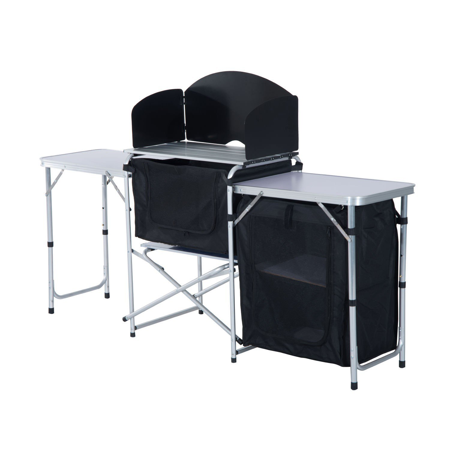 Portable Fold-Up Camping Picnic Tables Camp Kitchen Storage Station With Ebook