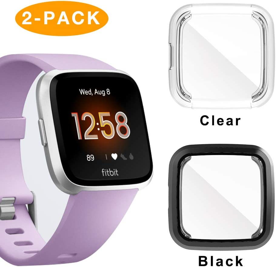 iHYQ Compatible Fitbit Versa Lite Screen Protector Case,2 Pack iHYQ TPU Plated Full Cove Cover Bumper for Fitbit Versa Lite Edition Smart Watch Accessory