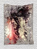 Feather House Decor Tapestry by Ambesonne, Grunge Image of Apache Male Face Native American Warrior Chief of the Tribe, Wall Hanging for Bedroom Living Room Dorm, 60WX80L Inches, Multi