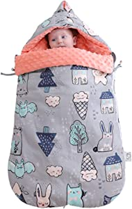 AIMIUKIDS Baby Sleeping Bag Infant Stroller Receiving Dream Blanket with Anti-Shock Soft Minky Dot for 0-12 Month Baby Winter,Forest,Grey