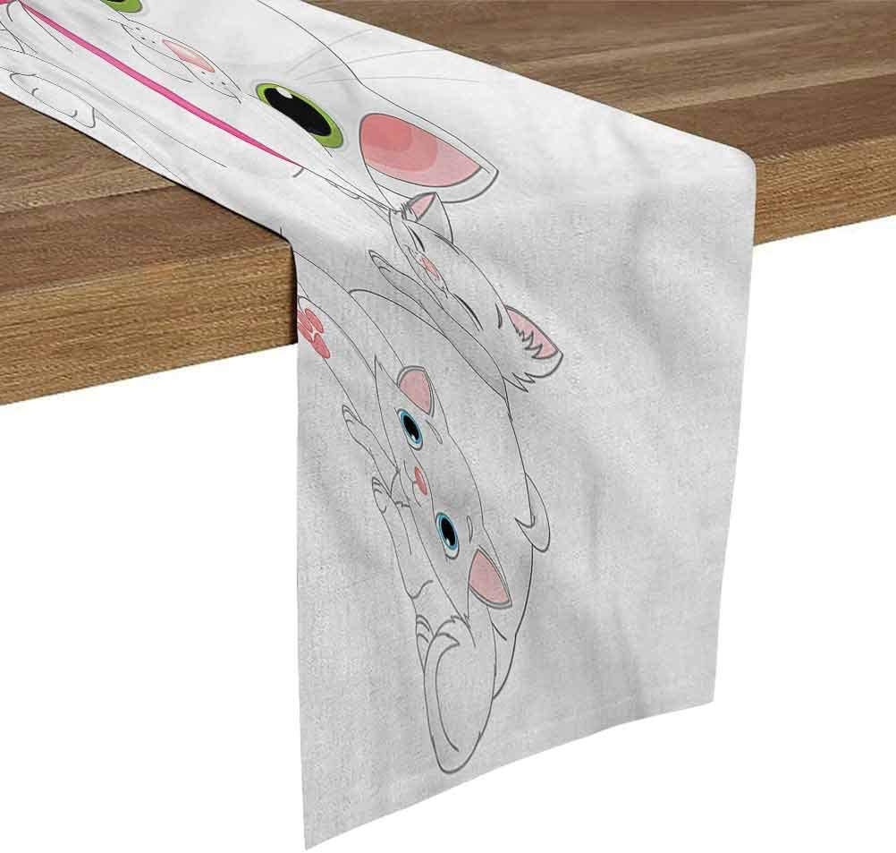 Garden Table Runner 13x48 Inch Cat,Happy Family Smiling Together for Family Dinner,Outdoor or Indoor Parties,Thanksgiving,Christmas & Gathering
