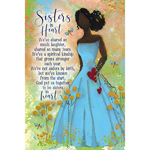 (Sisters in Heart Wood Plaque Inspiring Quote 6x9 - Durable, Colorful Vertical Wall Tabletop Art Decoration with Easel and Hanging Hook | We've Share so Much Laughter, Shared so Many tears)