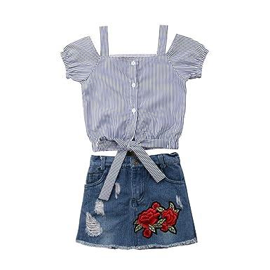 Cinnamou Conjuntos para Niña Outfits Flor Rosa Camiseta A Rayas ...