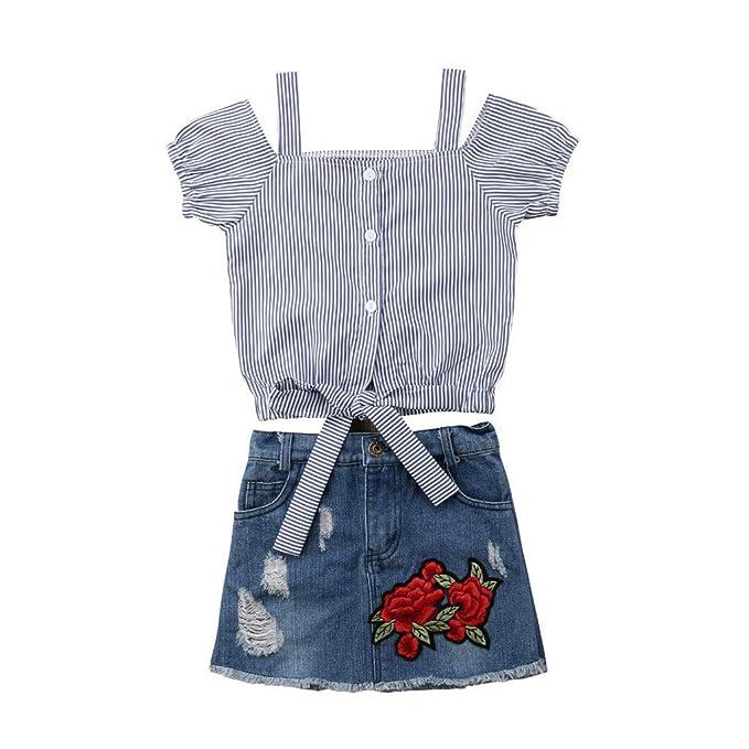 e88893a9c Cinnamou Conjuntos para Niña Outfits Flor Rosa Camiseta A Rayas Tops Falda  De Mezclilla Conjunto  Amazon.es  Ropa y accesorios