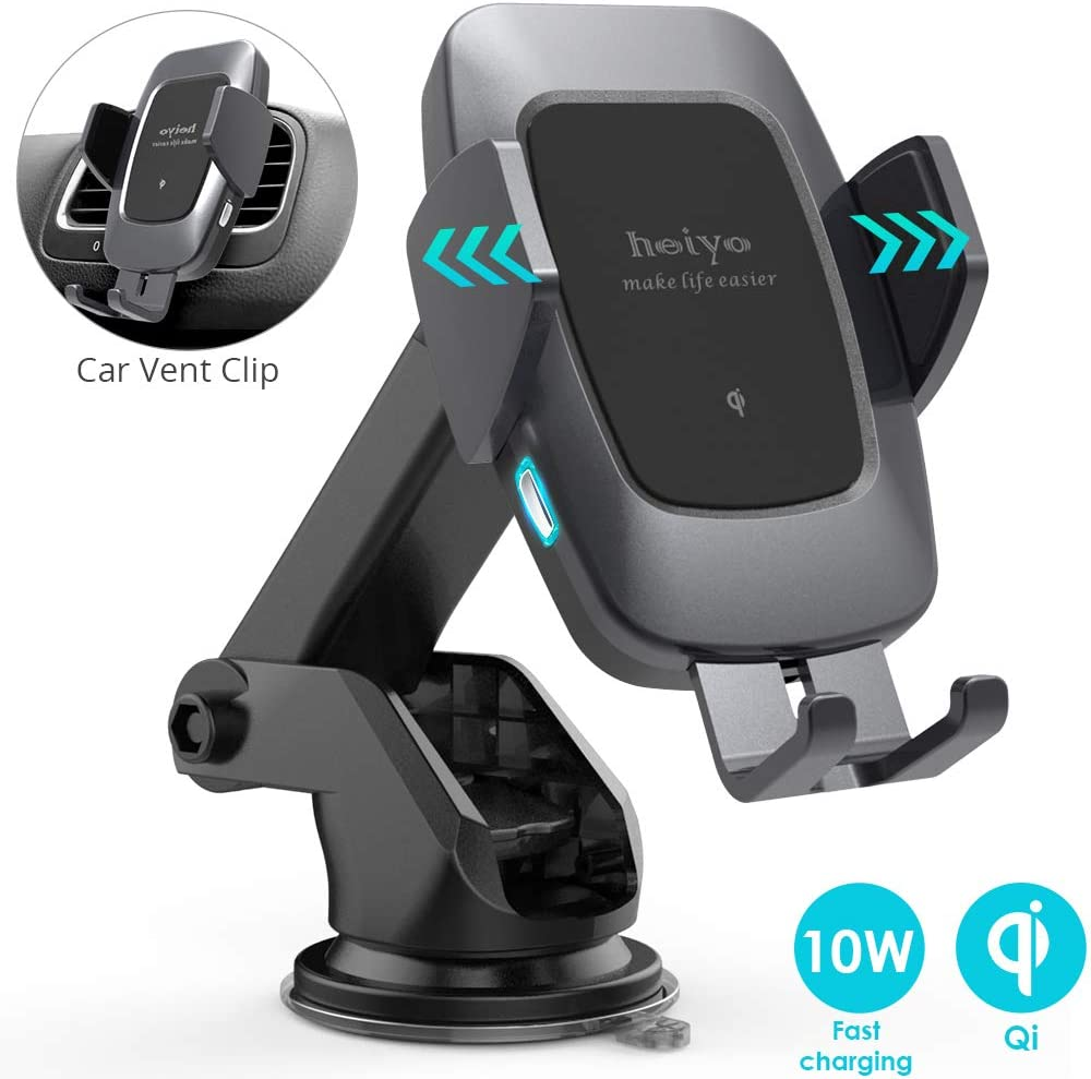 Heiyo Qi 10W//7.5W Fast Charging Automatic Clamp Car Holder iPhone Xs Max//XR//X//8// Wireless Car Charger Mount Black Dashboard Air Vent Car Charger Holder Compatible for Samsung S10//S9//S9+//S8//Note 8