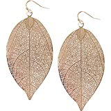 Humble Chic Filigree Leaf Earrings - Lightweight Cutout Oversized Drop Dangles