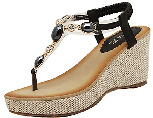 Women's Gemstone Beads PU Leather Platform Wedge Sandals