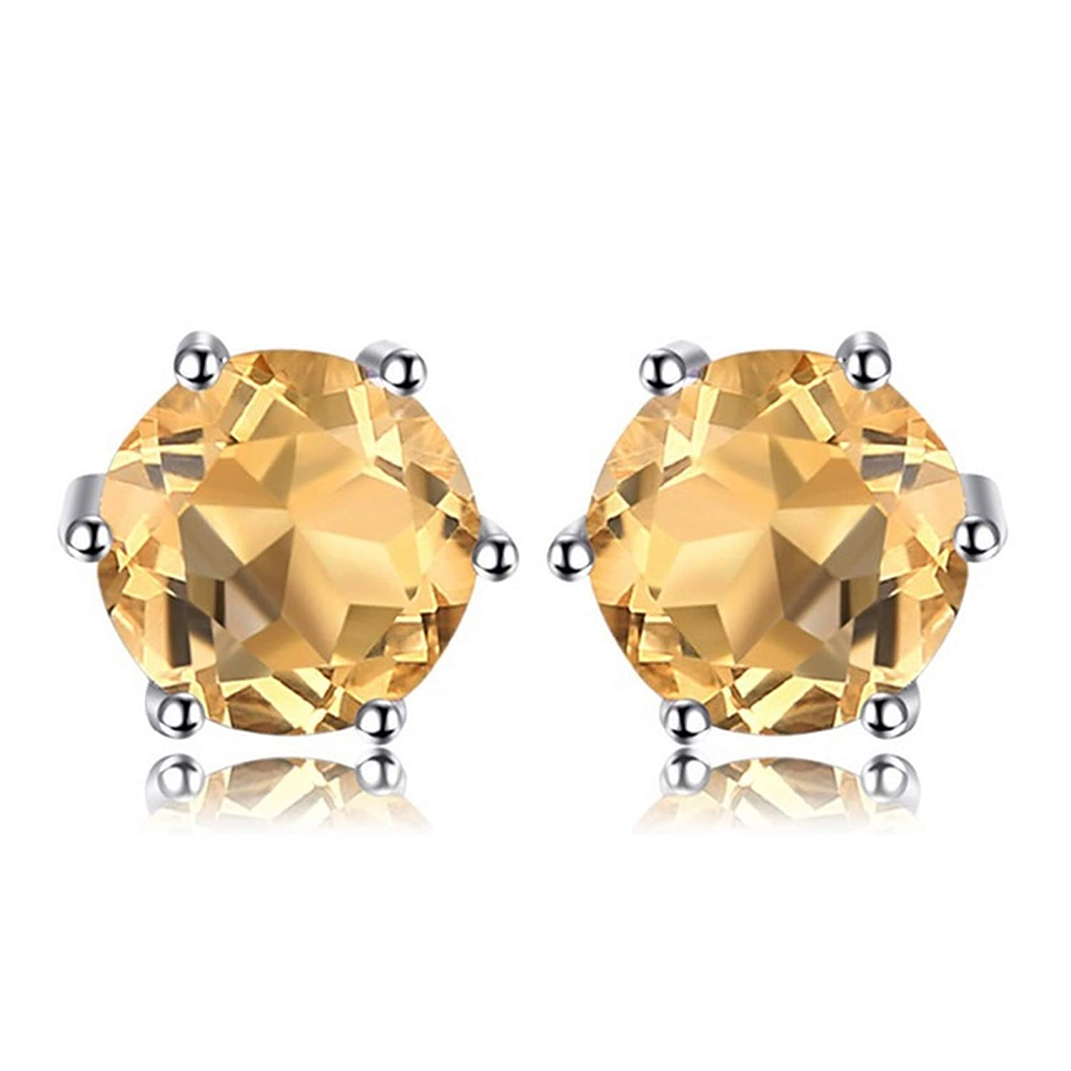 Silver Earrings By CS-DB Natural Round Citrine Daily Wear Stud Earrings For Womens