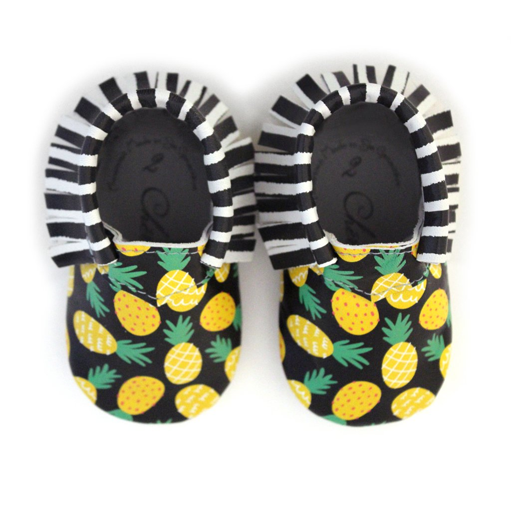 Pineapple of My Eye • 100% American leather moccasins for babies & toddlers • Made in US CS000020