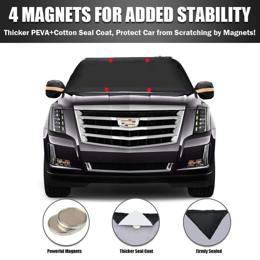 85x50 Magnets Double Side Design 210T Waterproof UV Protection Cover with Side Mirror Snow Covers Extra Large Size for Most Cars Vehicles Trucks SUV Sfee Car Windshield Snow Cover 4 Hooks