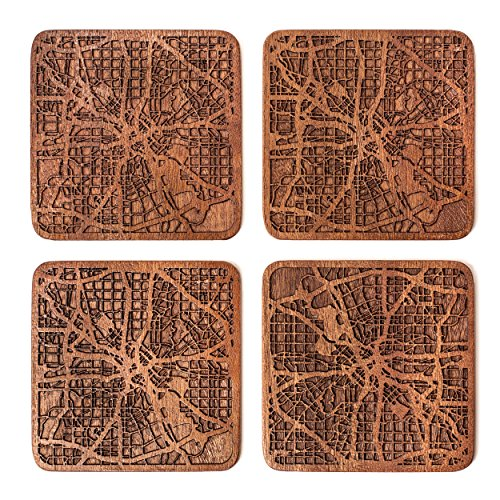 Dallas Map Coaster by O3 Design Studio, Set Of 4, Sapele Wooden Coaster With City Map, Handmade (Design Dallas)