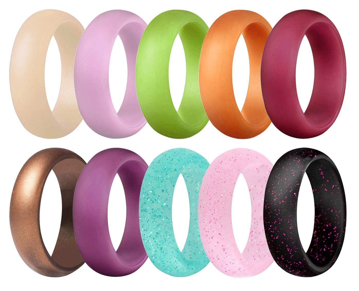 Founvar Silicone Wedding Ring for Women 10 Pack 5.5mm Wide /& Glitter Womens Rubber Wedding Ring Bands Size 5 6 7 8 9
