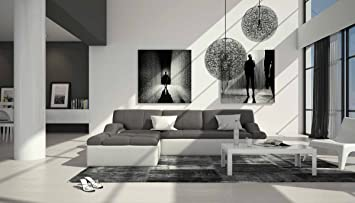 Polster Ecke Mit Kunstleder Bezug Grau / Weiß 240x235 Cm | Varegua L |