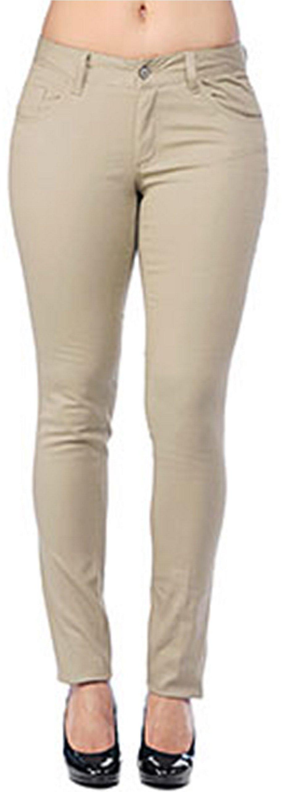 Dickies Girl Junior's Classic 5 Pocket Skinny Pant, Khaki, 5