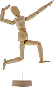 "US Art Supply Wood 8"" Male - Artist Drawing Manikin Articulated Mannequin with Base and Flexible Body - Perfect for Drawing The Human Figure (8"" Male)"