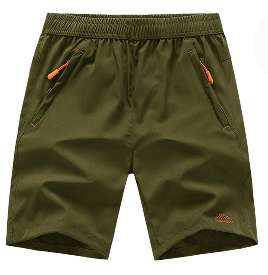 TBMPOY Men's Sports Outdoor Quick Dry Shorts Zipper Pockets(ArmyGreen3XL)