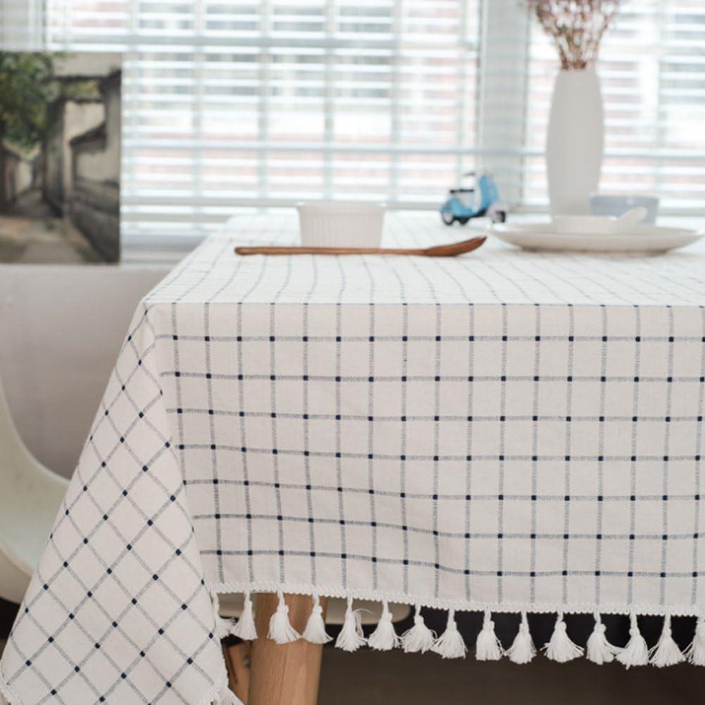 Meiosuns azul a cuadros manteles estilo Mantel Mantel de tela blanca mediterránea manteles de algodón fresco borla artística rectangulares