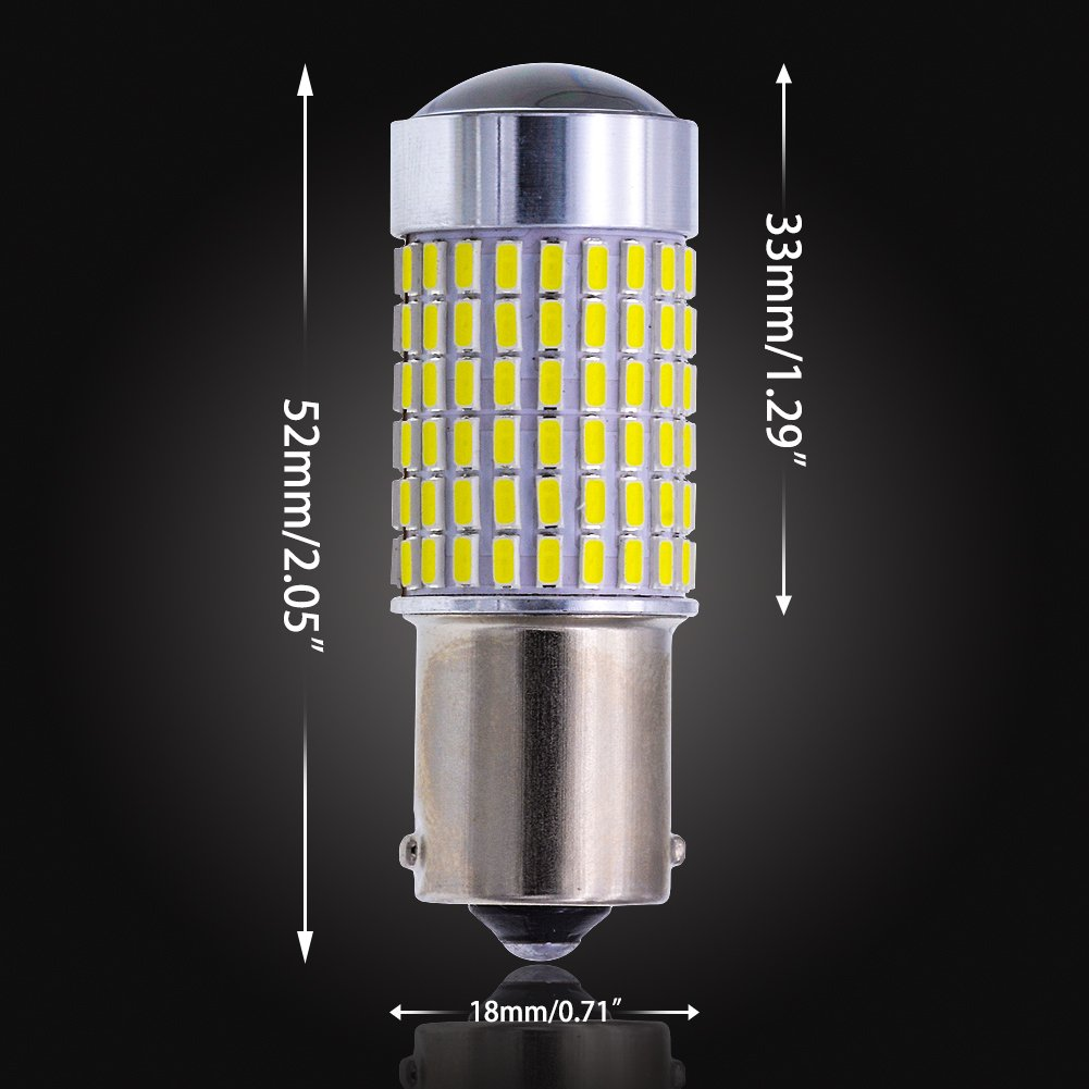12-24V 2-Pack NATGIC 1156 BA15S 1141 7506 LED Bulbs Xenon White 1500LM 3014SMD 144-EX Chipsets with Lens Projector for Exterior Back Up Reverse Tail Lights