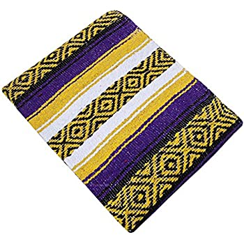 Threads West Premium Large Heavyweight Mexican Falsa Throw Blanket, Serape Stripe Yoga Blanket, Beach Blanket Available in 2 Sizes! (Large Heavy, Yellow and Purple)