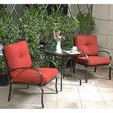 Cloud Mountain Bistro Table Set Outdoor Bistro Set Patio Furniture Set  Wrought Iron Bistro Set Tempered