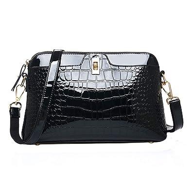 1917a3df21 Danse Jupe Women Crocodile Print Shoulder Bag Patent Leather Handbag Fashion  Crossbody Shell Bag (Black