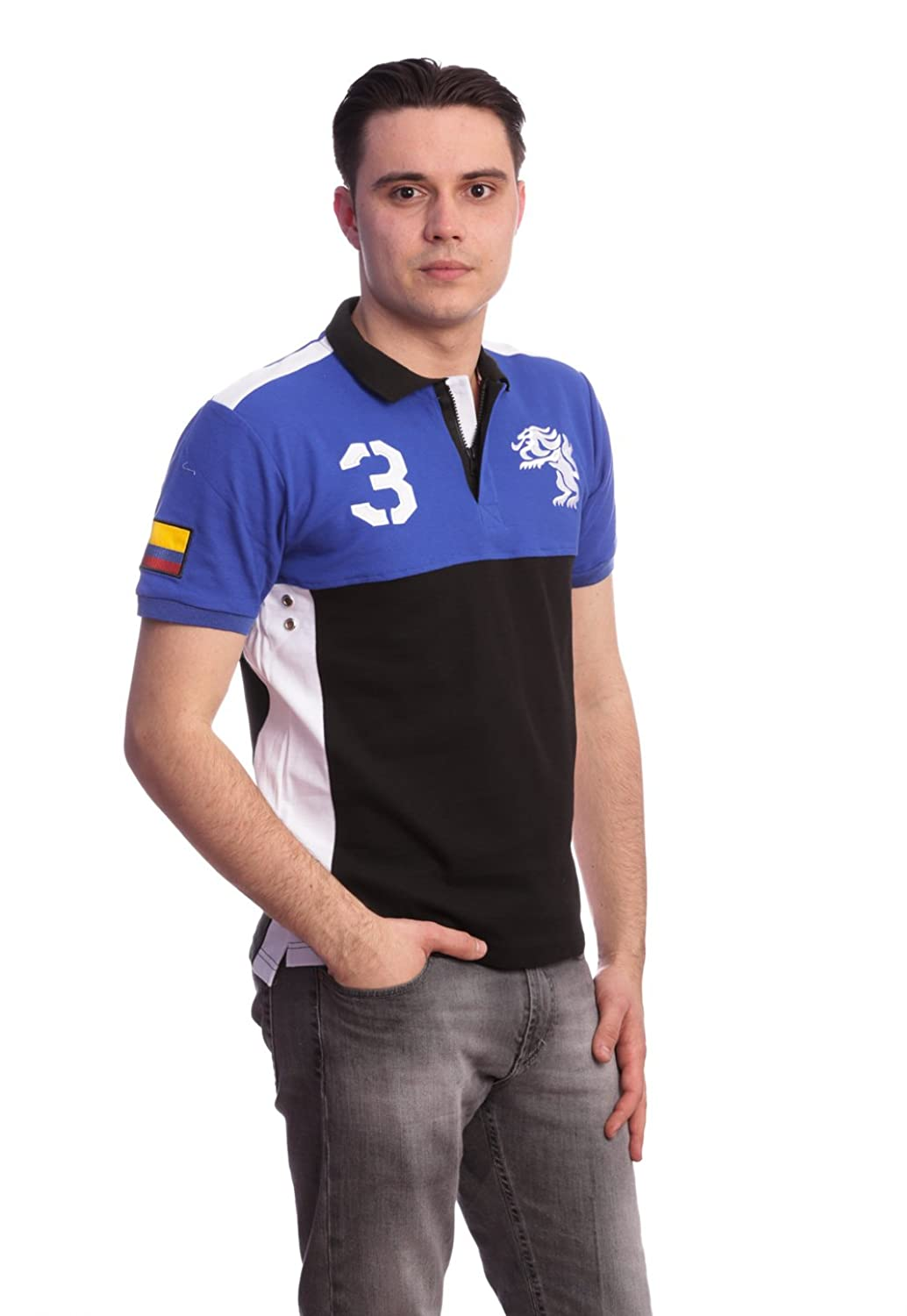 American Ranger Men Slim Fit Polo Country Shirt-Colombia -Blue Black-