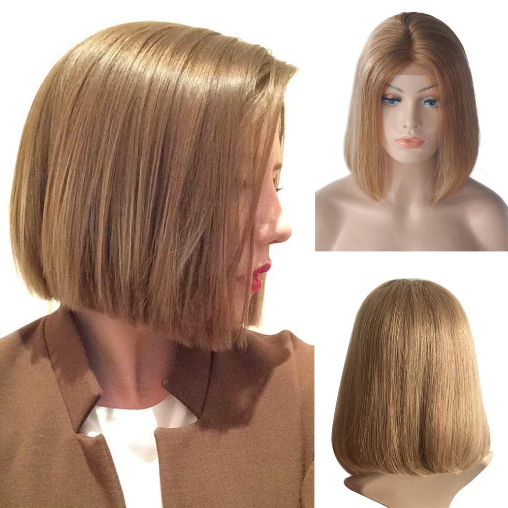 Strawberry Blonde Lace Front Human Hair Bob Wig Silky Straight Middle Part Bob Wigs Glueless Pre Plucked 180 Density Swiss Lace Bob Wig 10 Inch by Benafee