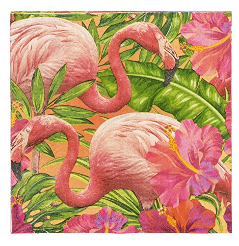 Cocktail Napkins - 150-Pack Luncheon Napkins, Disposable Paper Napkins Tropical Party Supplies, 2-Ply, Flamingo Design, Unfolded 13 x 13 Inches, Folded 6.5 x 6.5 -