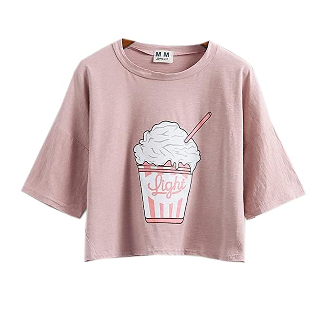 82a0d664411fa Image Unavailable. Image not available for. Color  Namnoi Clothing Store Harajuku  Pastel Peach Pink Crop Tops Tees Cute Ice Cream ...