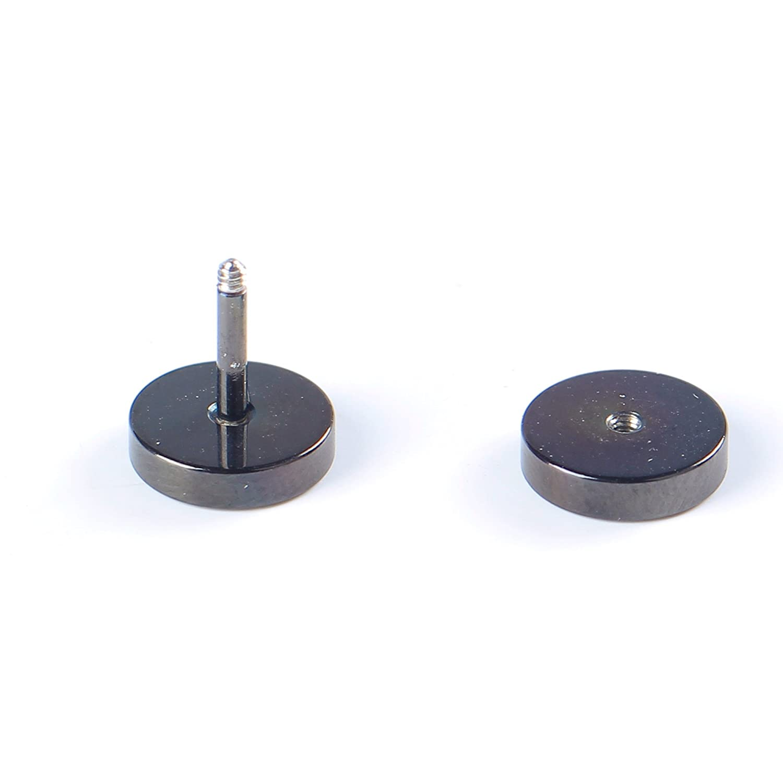 BODYA 2x Men Women's 6mm 8mm 18g Stainless Steel Studs Earrings Black Polished Tapers Plugs Tunnel Double Side 0PV6lvy