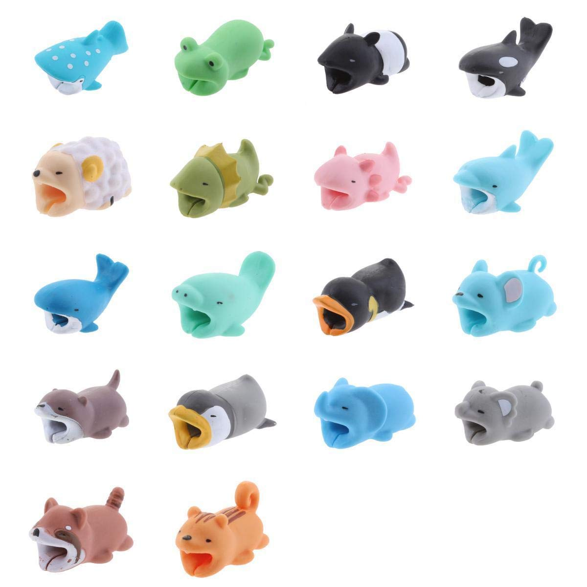 MagiDeal 18Pieces Animal Wire Protectors Headphone Cable Saver for Apple Android Universal Charging Cable Accessory