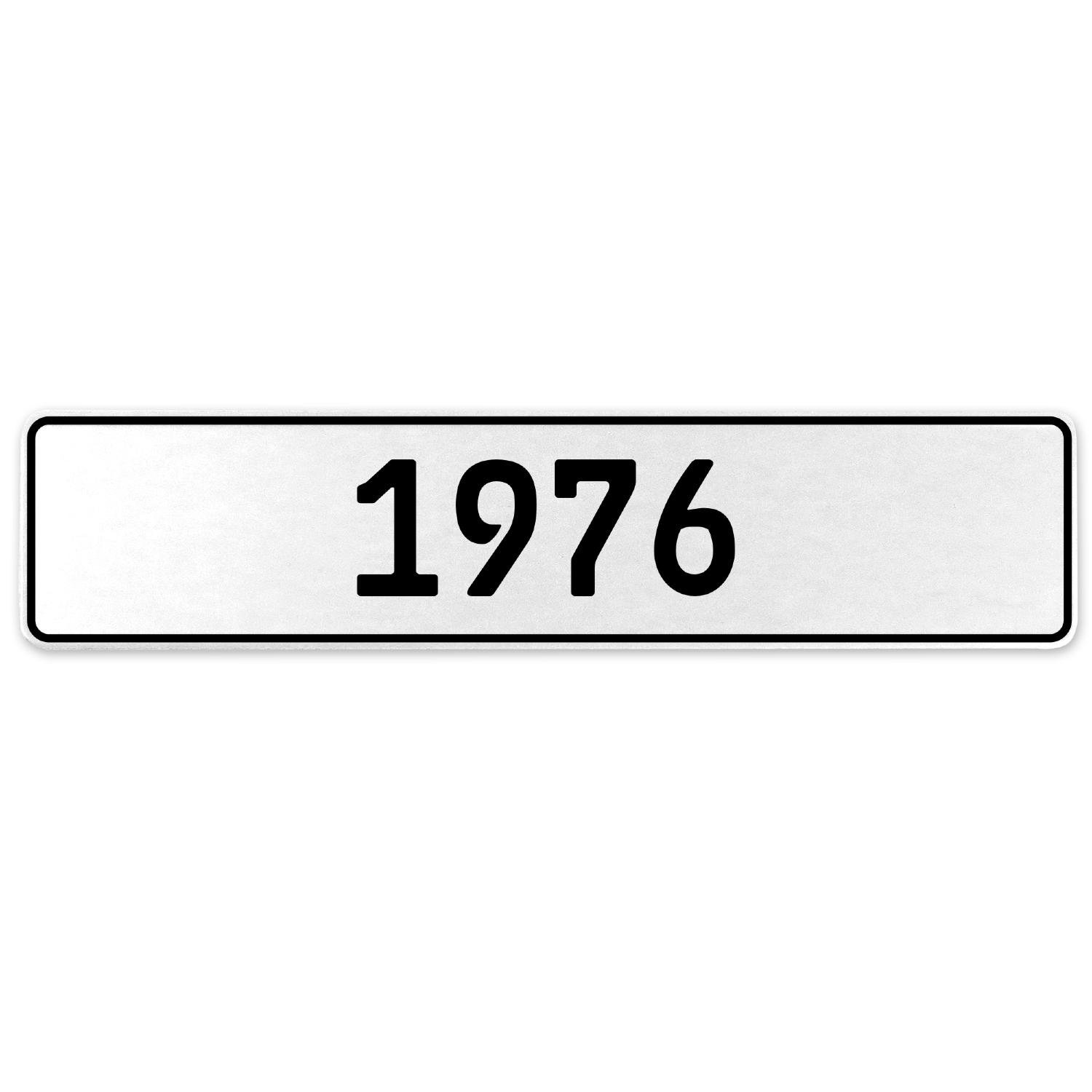 Vintage Parts 553219 1976 Year White Stamped Aluminum European License Plate