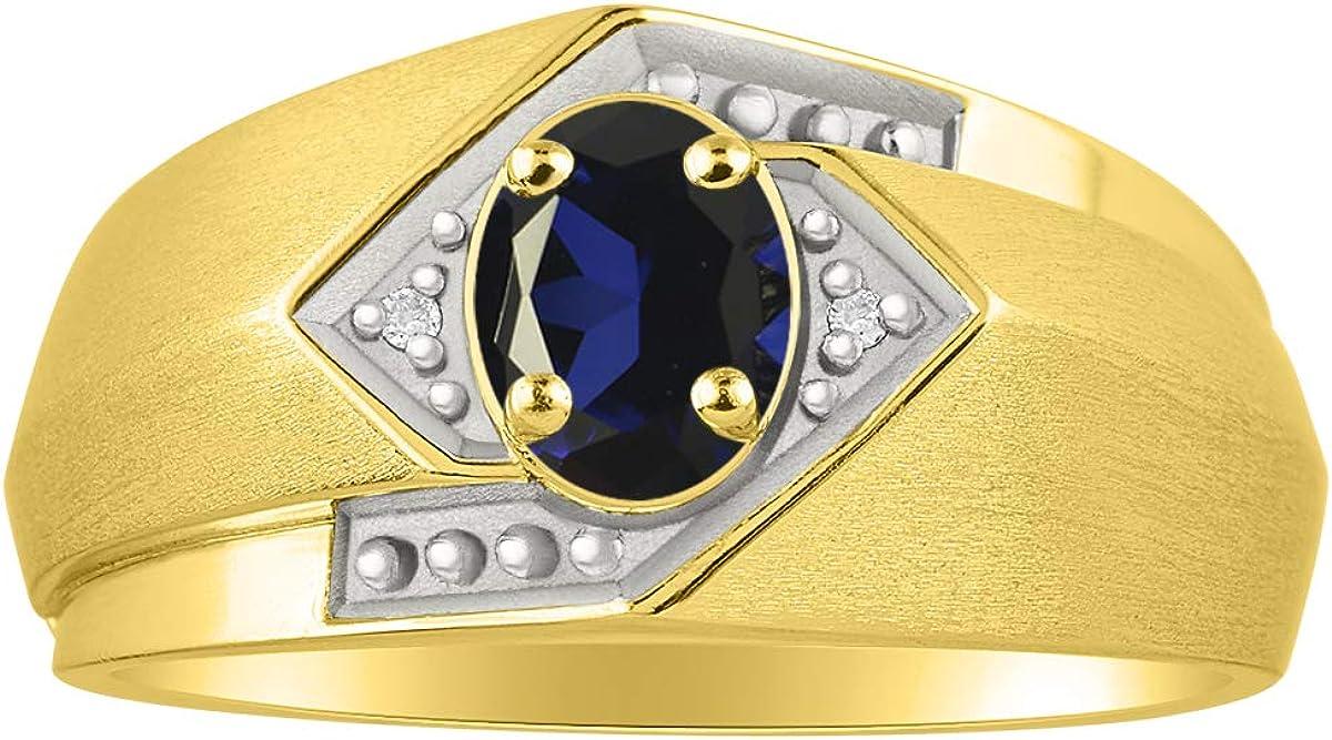 RYLOS - Anillo para hombre con piedra preciosa de forma ovalada y diamantes brillantes auténticos en oro amarillo de 14 K - 6 x 4 mm esmeralda, rubí, piedra de color zafiro