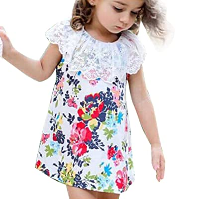 5ebadf5b3 Minisoya Summer Cute Toddler Kid Baby Girls Lace Floral Dress Casual  Princess Party Dress Tulle Outfit Clothes