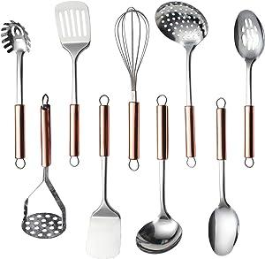 HOMQUEN Stainless Steel Kitchen Utensil Set, 9 - Cooking Utensils, Kitchen Gadgets Cookware Set, Best Gift - Kitchen Tool Set