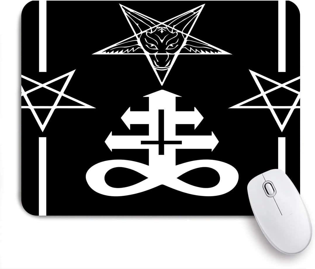 COFEIYISI Satan Baphomet Símbolo Binario de Cabeza de Cabra satánica y Cinco Estrellas Ta,Alfombrilla Raton Alfombrilla Gaming Alfombrilla para computadora