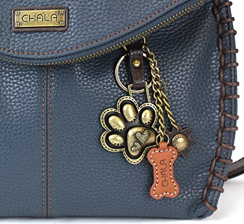 Chala Charming Crossbody Bag - Flap Top and Metal Key Charm in Navy Blue, Cross-Body or Shoulder Purse (Paw Print Navy)