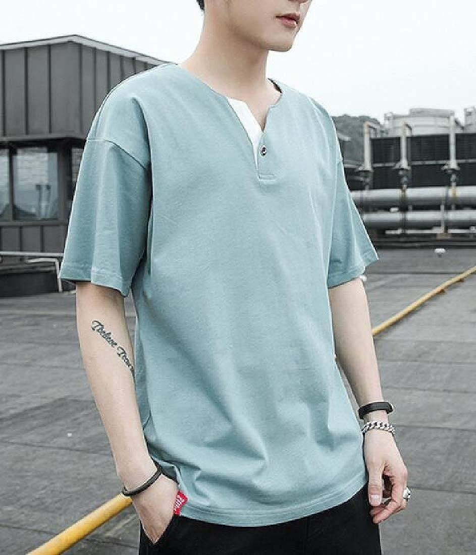 Macondoo Mens Outdoor Cotton Top Short Sleeve Tee V-Neck T-Shirt