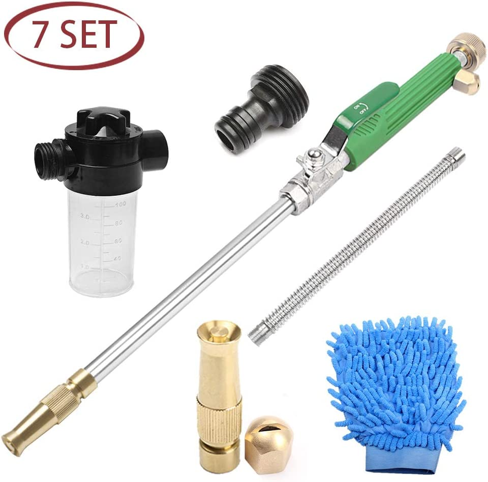 Jet Car Washer, High Pressure Power Hose Nozzle Wand Glass Window Cleaning Sprayer Extendable Home Garden Car Water Washing, Scrubbing Mitt and Soap Dispenser (Adjustable Nozzle + Fan Nozzle)