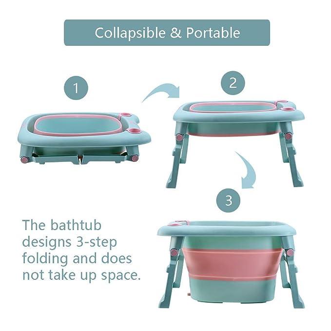 Amazon.com: Fuhuy - Bañera plegable para bebé, lavabo de ...