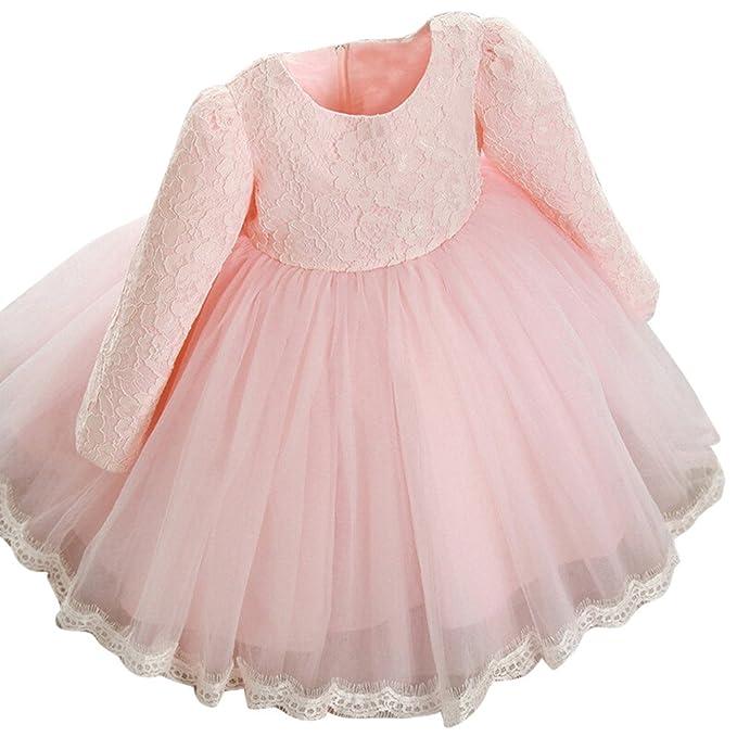 Vestido de Niñas Boda Fiesta de Princesa, Modaworld Vestidos de Fiesta de Boda de Princesa de Manga Larga para bebé niña Vestido de Encaje de Flores 6 ...