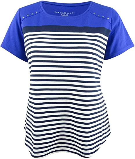 Karen Scott Womens Plus Striped Embbroaded Knit Top