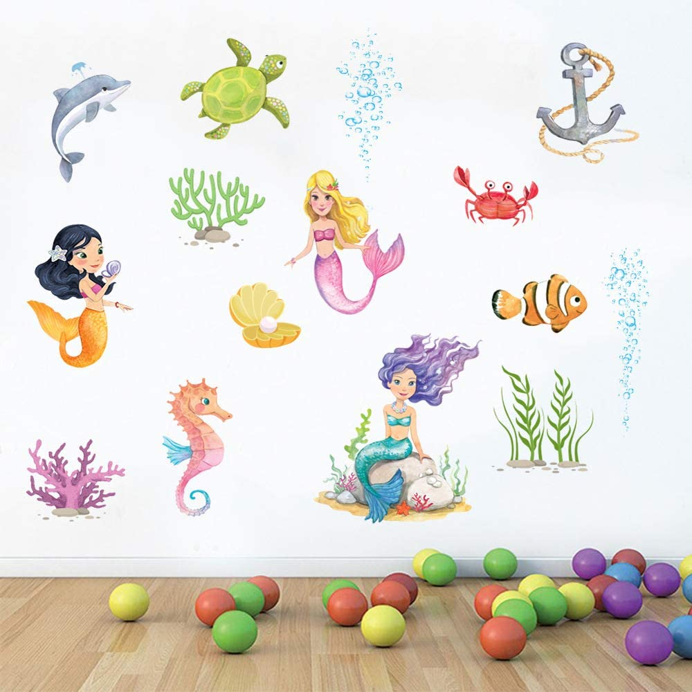 Supzone Mermaid Wall Stickers Under The Sea with Crab Turtle Fish Peel and Stick Wall Decor Girls Baby Bedroom Kids Nursery Bathroom Wall Decals