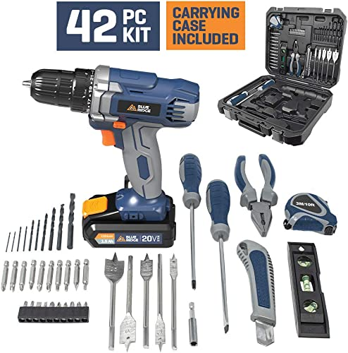 Blue Ridge BR2800KU.1 20V MAX Cordless Drill Driver with 42pcs accessory kit, 3 8mm keyless Chuck,Variable speed