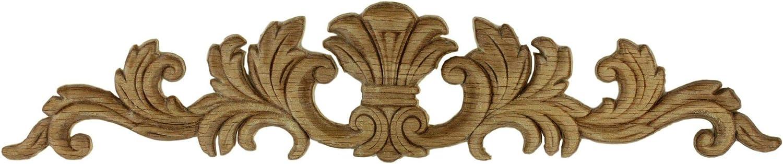 "Large Splash Oak Wood Applique - 16-1/2"" X 3-3/8"" - Onlay Antique & Modern Furniture Doors, Walls Carved Ornamental Decor | G10-B67-OAK"