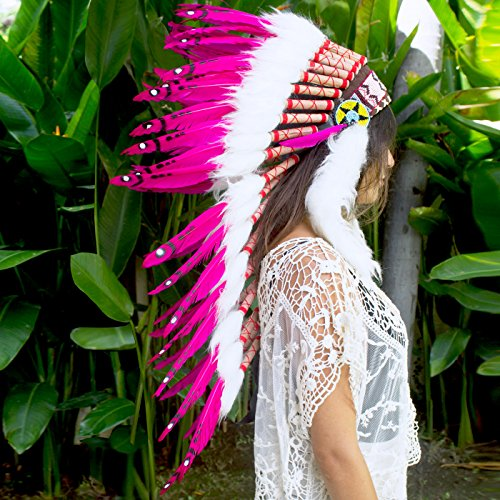 Red Raider Mascot Costume (The Sounding Iron Long Feather Headdress- Native American Indian Inspired- Handmade by Artisan Halloween Costume for Men Women with Real Feathers - Pink Duck)