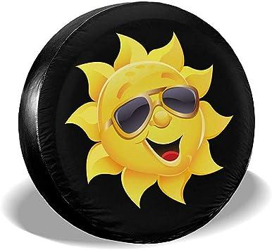 Y Z L Smiling Cartoon Sun Mit Sonnenbrille Spare Reserveradabdeckung Radschützer Wetterfest Für Trailer Rv Suv 14 17in Auto