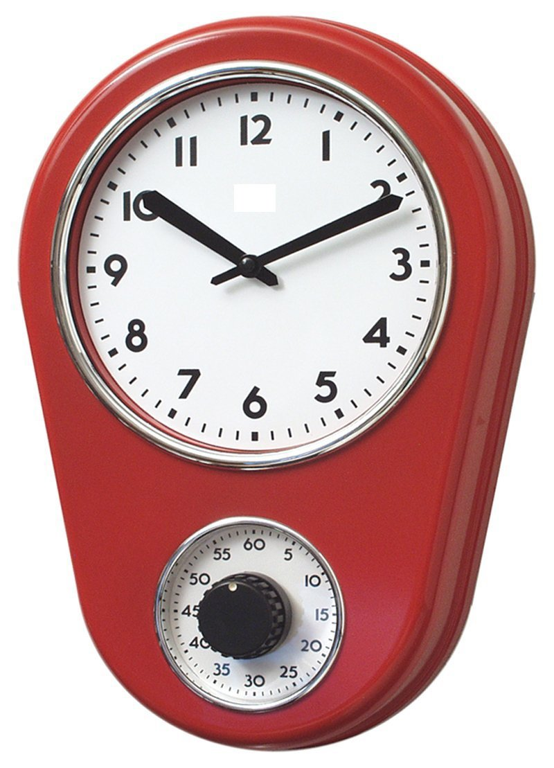 Amazon.com: Retro Kitchen Timer Wall Clock, Red. By Lilyu0027s Home: Home U0026  Kitchen
